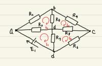 ブリッジ回路についての質問です。 電流i1~i4を以下の図の通りに取る回路におけるKVL(キルヒホッフ電圧則)の式を立てて、電流i1~i4を 求めよ。  この問題がわからないので、解説お願いします。