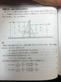水理学の全静水圧の問題です 写真の3式においてP=P1-P2となってますが、P+P1=P2ではダメな理由を教えてください