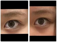 アイプチで二重幅を変えました。見慣れていないので違和感があるのですが右が前の写真、左がアイプチ後の写真です。変じゃ無いですか?