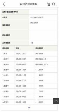 Qoo10 佐川急便の配達について 5月23日に Qoo10で韓国の商品を購入しました。 アプリでは27日に 商品入庫 となって、その後いろいろと配送状況の詳細が出ていたのですが、佐川急便の方で詳細を開いてみると画像のような状態になっていました。関西中継センター以降の営業所は全て同じ(自宅近く)です。  不在票等も入っていなかったため家まで配達されていないとは思うのですが、なぜ配達中と持ち戻...