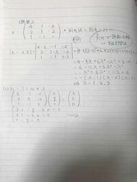 固有値と固有ベクトルを求める問題についてです。固有値までは何とか求めることができたのですが、固有ベクトルを求める方法が分かりません。できるだけ分かりやすく教えてくれると有り難いです。どうぞ、宜しくお願 いいたします。