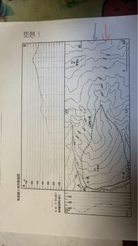 赤と青の等高線は何メートルでしょうか? 地形断面図は合っているでしょうか?? 明日提出で不安なのでお願いします