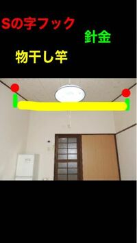 室内干し 鉄筋コンクリート 梅雨時期のため室内干しに しょうと考えています。  写真のように天井の角の木のところに Sの字フックに、針金を巻いて物干しを  通して、五連ハンガーなどを吊るそうと 考えていますが、上の階に響くと 思いますか?  扇風機下から当てようと考えています。