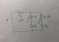 ダイオードを使った電子回路の問題です。 ダイオードの立ち上がり電圧はV_Fとします。 写真の回路で、 I_2 = (VーV_F) / (7R/2) となるのですが、求め方が分かりません。  私が解いたとこ ろ、R_2にかかる電圧が4V/7 なので、(4V/7 ー V_F) / 2R となりました。