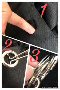 お気に入りのバックの金具が布から取れました。(1) もともとは(2)のようにくっついています。 とれた金具は(3)で、金具と金具の間に布が挟まっていたようです。  修理の方法やおすす めのバンドなどあ...