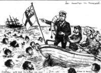 この風刺画ってどんな状況を表している絵なんですか?? ノルマントン号事件の風刺画ということは分かるんですが詳しいことがわからず教えて下さるとありがたいです