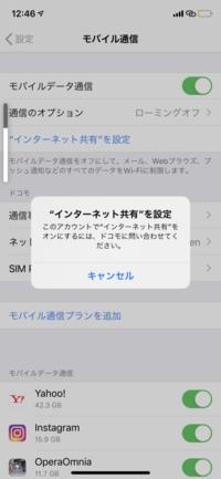 iPhone11proで楽天アンリミットを契約しているのですが今日の朝から急にインターネットが繋がらなくなりました。 インターネット共有を設定しようとすると添付の表示が出ます。 直し方が分か る方助けていただ...