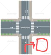 赤い所がコンビニだとします。 ここで右折しようとしたら後続車にクラクションを鳴らされました。 駄目だったのでしょうか?