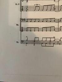 ドラムの楽譜の1小節目の1番上の段の二分音符はどこですか。