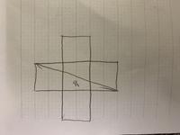 五個の正方形のうち、一個の正方形の面積を求める問題です。