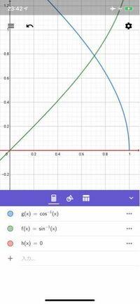 x軸とy=arcsinx、y=arccosxで囲まれた面積を求めてください。 積分でもそれ以外の方法でも結構です。(それ以外の方法があるのか分かりませんが。)