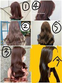 髪色についてです、今の髪色は写真右下です 初カラーで10番くらいの明るさを入れましたが実際は6番くらいに見えます 美容師さんに色が入りにくい髪質だと言われました…!  そこでまた染めたいのですが、写真の①~⑤だったらどれがブリーチなしで1回で綺麗に染まりやすいですか…?  ブリーチなしのダブルカラーというものがよく分からないのですが、それについても聞きたいです… この写真の中にブリーチなしの...