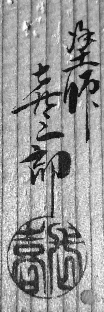 茶道具の箱書に書かれている漢字がわかりません。誰の作ですか?わかるかた、教え下さい。