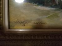 このサイン誰のものか分かりますか? 筆記体すぎてyくらいしかわかりません、、 絵の作者おわかりの方教えて頂きたいです。
