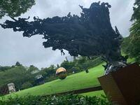 箱根の彫刻の森美術館の作品で、写真のようにたくさんの人が組み合わさった彫刻の作品名と作家名を教えて頂きたいです! うしろから見るとただの巨大なコンクリートの角なのに逆から見るとたくさんの人(のようなもの?)の集合体である、という作品です。 めちゃくちゃ好きで魂に刺さりまくったのですが記録し忘れました…