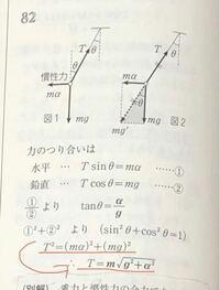 赤い矢印の変形について質問です。 なぜ、T=±√m(a+g)ではないのでしょうか?