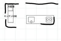 キッチンとキッチン収納(キッチンボード)の位置について。 添付画像のように、キッチンの背面に収納がない間取りについてどう思われますか? 新居の間取りについて検討していて、私としては背面にないと不便な気がするのですが、慣れれば気にならないものでしょうか。 実際にこのような間取りになっている方の意見など聞けたら嬉しいです。