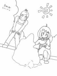 なんかおかしいです..... 綺麗に添削してもらえないでしょうか??><     ヒロアカのお茶子の幼稚園を描いて見ました