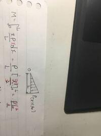 構造力学で三角形の質量を求めようとしていました。三角形の底辺の長さはL、密度はρなですが、 ∮0→L(xρ/L)dxとして求めようとしていました。なぜなら、xρ/Lの単位がρと同じで、それに 距離のdxをかけると質量になると思ったからです。  dxを距離の掛け算とみなしているから間違っているのですかね?