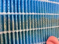 加湿器付きの空気清浄機の水入れフィルターの掃除しているんですが、 クエン酸、重曹だけの使用、クエン酸+重曹、白い付着物がカビか分からずカビ取り剤や、キッチンハイターも使いました。  1日目はクエン酸+...