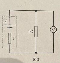 電池に並列に抵抗値1Ωの抵抗器をつないで、電圧を測ると5Vであった。このときの電池の内部抵抗rを求めよ。 この問題の解き方が分かりません。 教えていただけると幸いです。