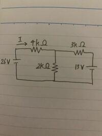 重ね合わせの定理を用いた、電流Iの求め方を教えてほしいです。