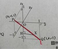 この図で、直線PQをz軸周りに一回転させた図形ってどのようになりますか?出来れば、図で教えて欲しいです。