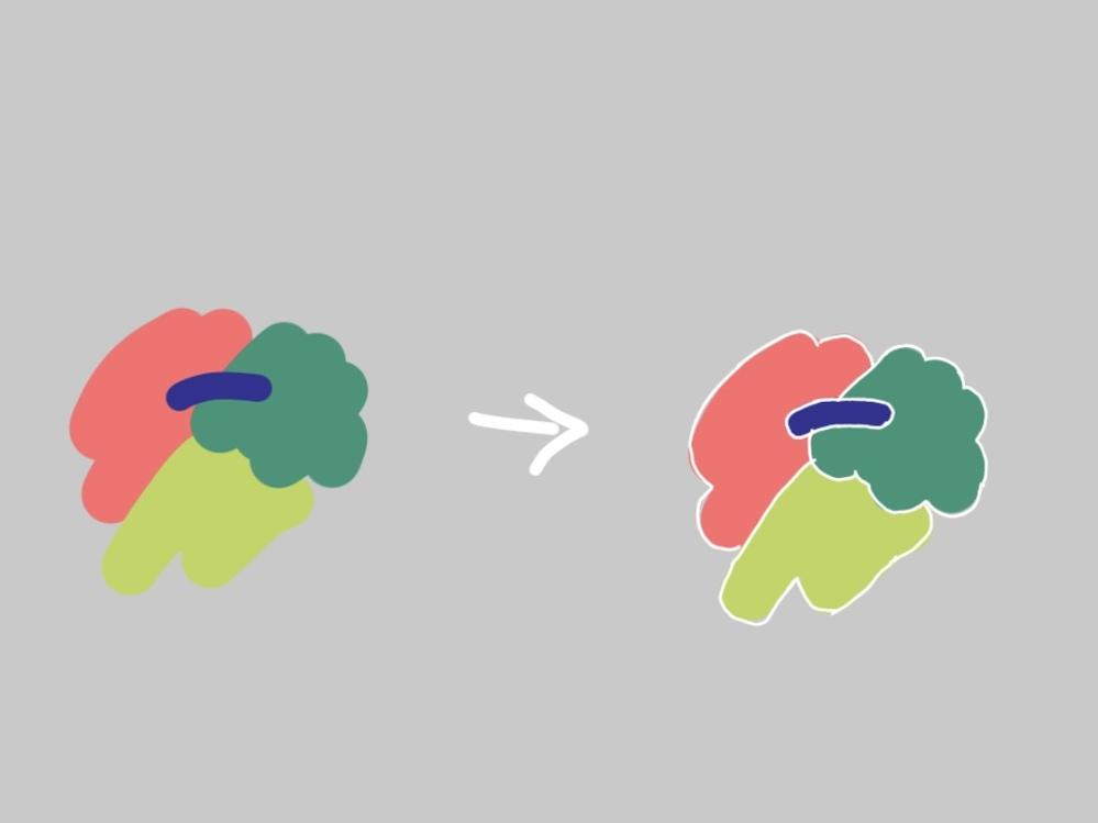 AdobeのIllustratorについて質問です。 添付した画像のように、色と色の境目がわかるような線を入れたいのですが、どこからすることができるのでしょうか。 また、その線の色を変えることが...