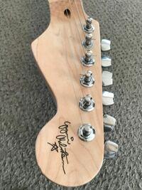 ストラトタイプのギターのロゴが読めませんがどんなアルフベットが書いてあるのですか❓ またどの程度のギターですか?