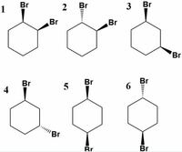 化学の質問です!この1~6のうち分子内に対称面をもつのは、1と3と5と6でしょうか?