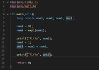 c言語のeの累乗の計算についてです。 写真のようにeの81乗に1を足したのですが、結果数値がどちらも 150609731458503061892247354869809152.000000 150609731458503061892247354869809152.000000 と変わりません。 これを正しく計算する方法はありますでしょうか。