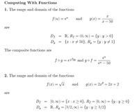 値域と定義域の問題について、うまく理解できず、 下記問題に対して、添付画像の解答となることについて解説をお願いしたいです。 *ちなみに、解答のℝって実数?でしょうか。 よろしくお願いいたします。  1) 次の2つの関数の値域と定義域、f・gとg・fの組み合わせを求めよ  f(u)=e^u g(x)=x/(x-50)  2) 次の2つの関数の値域と定義域を求めよ   f(x)=√x  g(x)...