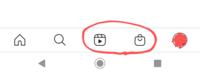 インスタグラムのアプリトップ画面項目について 画像の赤丸の二項目についてです。 通常は真ん中が投稿(+)で右がアクティビティ(♡)だと思うのですが、何故か真ん中がIGTVで右がショッピングになってしまっていま...