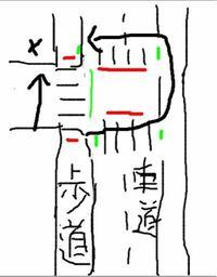 歩行者用信号について質問です。汚いですが下の図にある左下の歩道に立って信号待ちしている場合、普通だったらそのまま直進するため手前の信号を待ちますが、それを青になっている右側の信号を渡って少し直進し、大 回りしながら奥の横断歩道を左に曲がって渡って行くのは大丈夫なのでしょうか?   図が汚く見にくいかもしれません。