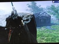 ゴーストオブツシマで、クリア後志村城に侵入し散策していたところ、画像の岩の場所で身動きが取れなくなってしまいました。 元の場所に帰るにはどうすれば良いのでしょうか。