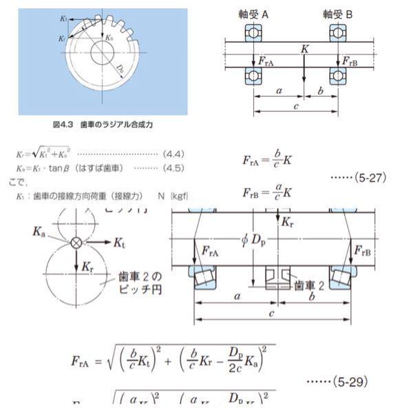 軸受にかかるラジアル方向荷重を求める計算について質問です。一枚目のようにkt,Ks,Krが定義されており、2枚目のように、歯車にかかった荷重が軸受に距離によって分散されるのも、理解できます。しか...