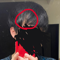 髪について 高校生男子です。 いつもどれだけ前髪を重くしようとしても必ず赤で囲ったような隙間が出来てしまいます。 どのように乾かせば改善されますか?