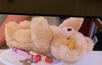このクマのぬいぐるみの詳細について教えてください! テレビで見たこのクマのぬいぐるみを探しています。どこで販売している、何という名前のクマのぬいぐるみか分かる方がいましたらご回答ください!よろしくお願いします!(>人<)