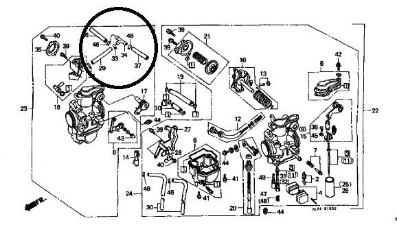 ホンダGB250 E型(初期型/ツインキャブ)のキャブレーター配管について。 現在、上記の車両のレストアをしています。エンジンOH、キャブOHがすんで、各部品の組付けに入るところなのですが、単体...