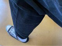 第三者からの意見が聞きたいです。 昨日GUのシェフパンツのLサイズ購入しました。 試着した時には正面から見て丈の長さも足りていたのでLサイズを購入したのですが、 履いて歩いたり座ったりする時に裾があざって靴下がチラ見えするんですけどもうワンサイズ上を購入した方がいいですかね? CONVERSEがローカットなのでそれも関係してると思うのですが、靴下が見えるのはかなりださいですよね? ちなみに上...