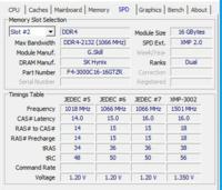 デスクトップのメモリーで質問ですが、現在使っているメモリはG-skill のメモリです。 メモリの詳細は https://www.gskill.com/product/165/166/1536652516/F4-3000C16D-16GTZRTrident-Z-RGBDDR4-3000MHz-CL16-18-18-38-1.35V16GB-(2x8GB) これの1枚が16GBのやつです。  ...