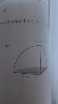 この立体は半径6cmの球を8等分してできた立体らしいのですが、なぜ色の付いた部分を求めるときは6²π÷8ではなくて6²π÷4なんですか?
