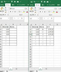 VBA初心者です。VBAとVlookUP関数を使ってデータを作りたいのですが、ウェブでいろいろな方法を試しましたが上手くいきませんでした。 以下構文の作り方教えてください。  シートAの商品名欄にシートBの商品名を商品品番を基準にVlookupして表示させたいです。 シートは1データではなく別々な状態です。 シートAもシートBももっと何百個も下にデータがあり、日によって行数が変わりますので行...