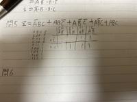 論理回路のカルノー図?の問題で簡単化の仕方がわかりません。教えてください。