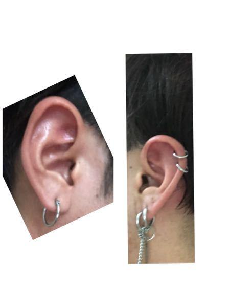 画像雑ですみません。 インダストリアルをセルフで開けるのですが、左右どっちの耳に開けたらいいと思いますか? 一個の方が右耳です。