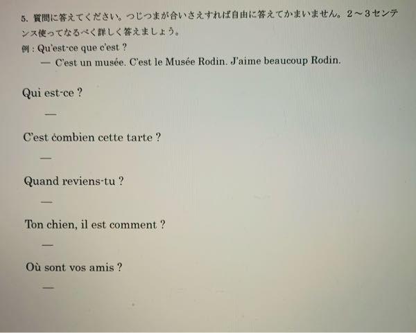 このフランス語の問題を教えてください。よろしくお願いします