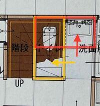 階段下トイレについて。 U字階段の下にトイレを設置する予定なのですが、配置方向に悩んでおります。 どちらの方が階段の圧迫感を軽減できますか?
