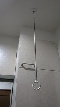 一条工務店で設計士さんが良いものがあるのでと  天井吊り下げ型 ホスクリーンを紹介してくれました。 2個天井から吊り下げて2本のリング部分に棒を渡すと棒に洗顔タオルを干したり何かと重宝ですとの説明でしたが  引き渡されて使用したらわかったのですがタオルを干すための棒を通すと  画像にあるように片方のホスクリーンが一条備え付タオル入れの戸を開けるたびに  ホスクリーンにこつんと当たります。(ホ...