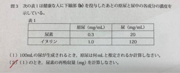 生物基礎の腎臓に関する問題です。 (2)の解法を教えてください。