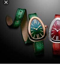 ブルガリのセルペンティ時計について 私は、29歳女です。お堅い職場にいます。兼ねてより30才を前に、ご褒美を買いたいなと思っていて、 カルティエの時計バロンブルー等を検討していました。 最近ブルガリのセルペンティ時計を知り写真の緑のカラーの時計も素敵だなと思うようになりました。 セルペンティに詳しい方に聞きたいのですが、 ブルガリのホームページには載ってないのですが、もしかして廃盤等になって...